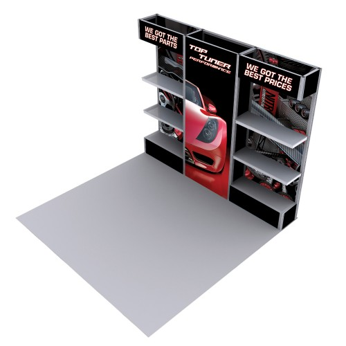 Modular Product Display with Shelves 10ft Alpine Booth D
