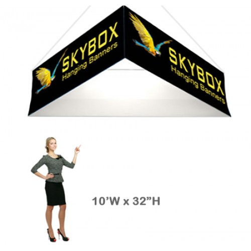 Triangle Stretch Fabric Hanging Banner 32h x 10ft wide Skybox