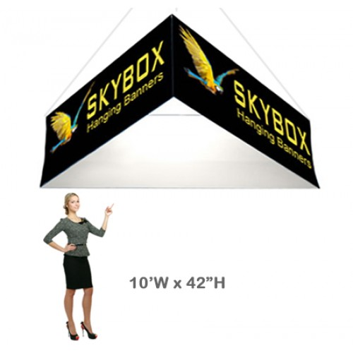 Triangle Stretch Fabric Hanging Banner 42h x 10ft wide Skybox