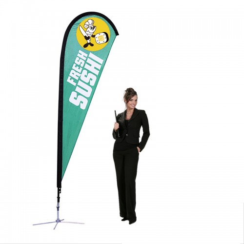 Sunbird Teardrop Flags 9' Custom Made Flags, X Base for Hard Surfaces