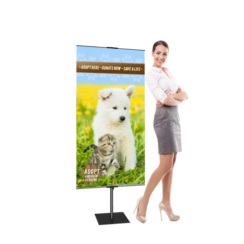 Indoor Promotional Display 2' x 5' Double Sided Advertisement Stand
