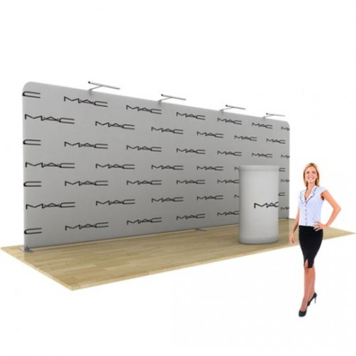 Wave Tube Trade Show Booth 20ft Straight with Stretch Fabric Graphic