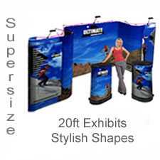 Trade Show Popup Display Oversized 20' Pop Up Display Booths with Full Color Printed Graphics