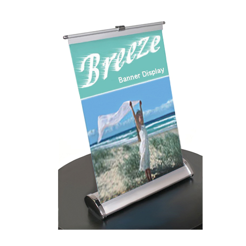 Retractable table top banner stand breeze 11x18 trade show for Table bar retractable