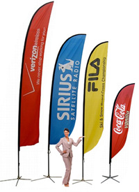 Feather flag pole banners are custom printed flags great for outdoor business flags and marketing event flag banners!