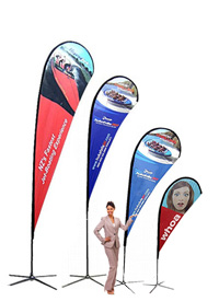 "Teardrop flag pole banners are the best option for higher wind outside business flags. No loose flag banner edges. Custom printed flags single or double sided."" Flag Banners"