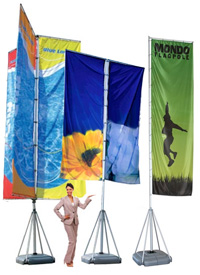 Telescoping flag pole banner stands are designed for tradeshow event flags, lobbies, showrooms and entryway flags. Flag banners telescope extra tall so you will be seen from greater distances!